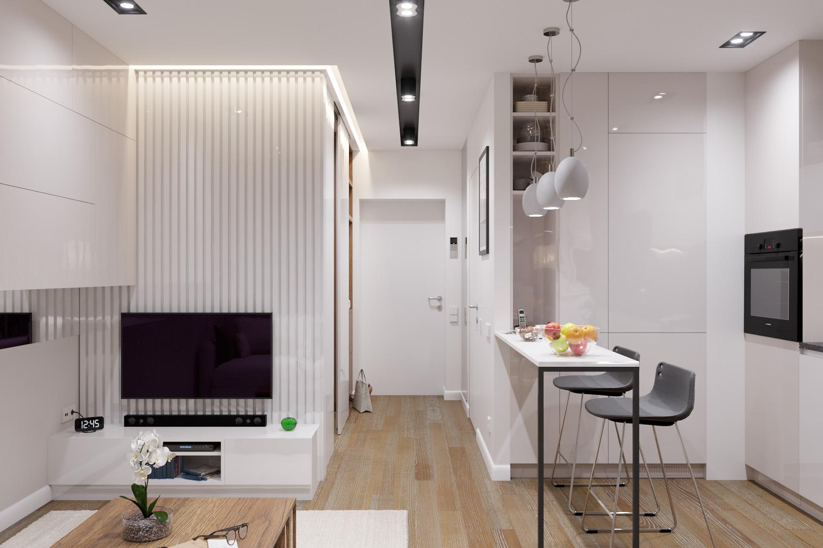 Вид с комнаты на вход в квартиру, вечерний свет