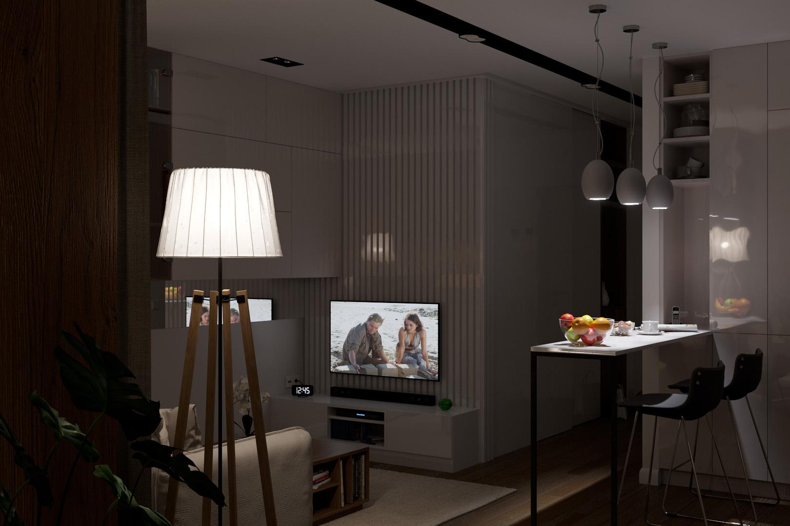 Вид комнаты с лоджии, приглушенный свет