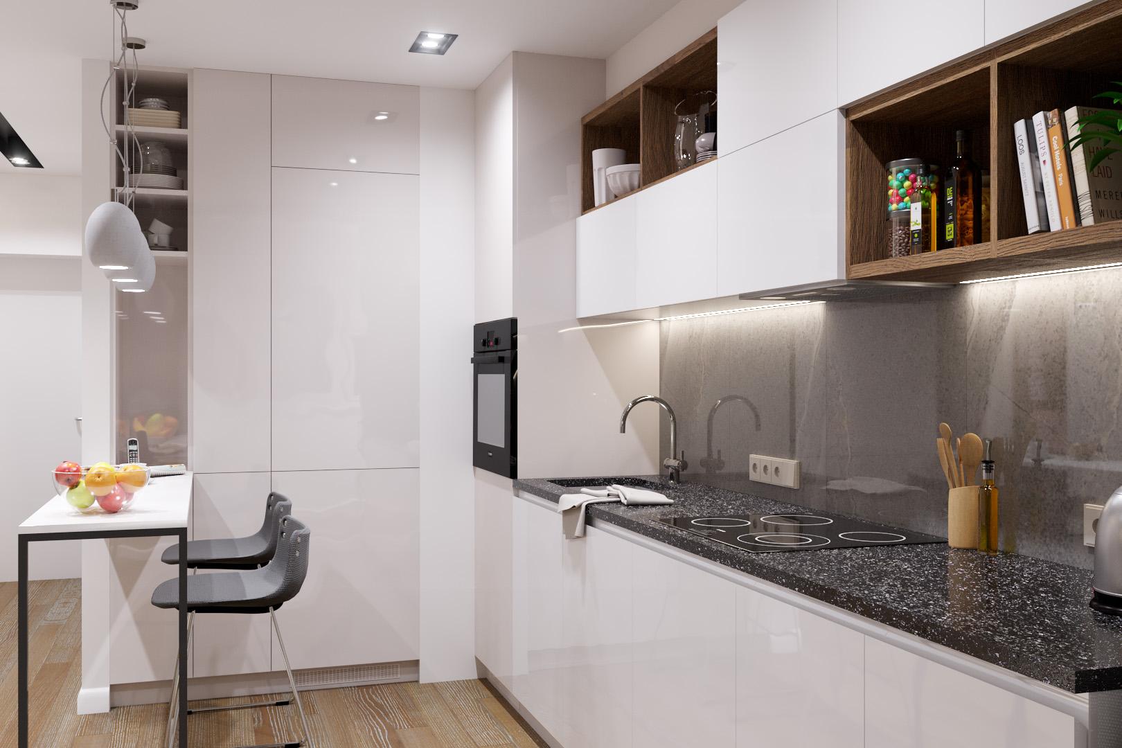 Рабочая поверхность кухни, вечерний свет