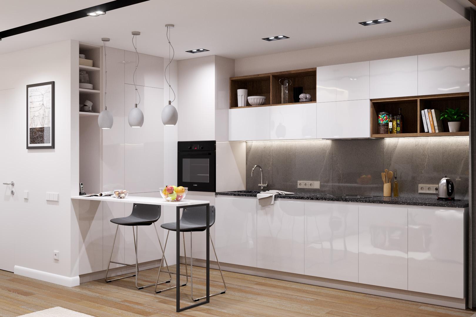Зона кухни, вечерний свет