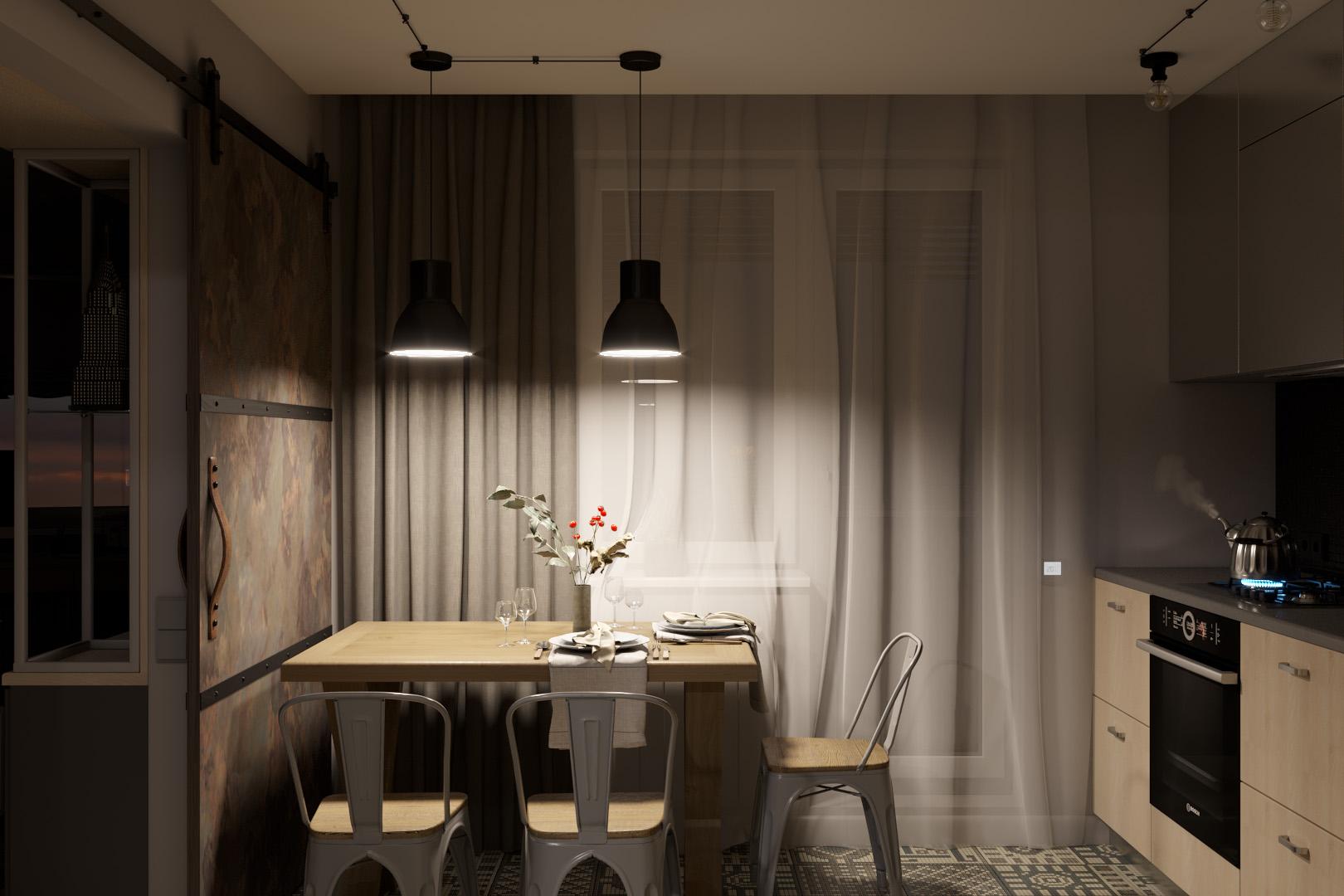 Обеденный стол кухни, приглушенный свет